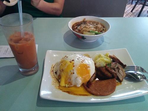 担々麺と卵&ダックライスとアイス杏仁ティー