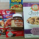 アメリカ土産:シリアル、スパム、ヘーゼルナッツスプレッド、タバスコチョコ、調味料