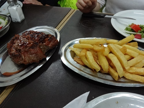 ブエノスアイレスの食堂で食べたステーキ