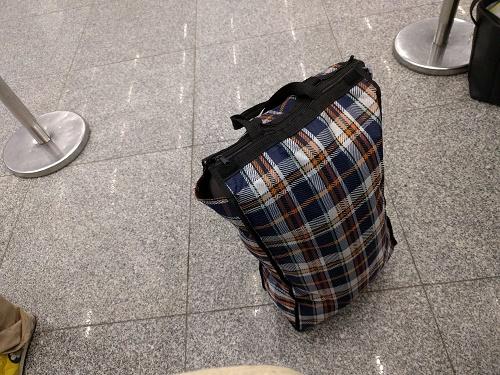 リサは折り畳みの買い物カバンを使用。まるで買い出しに行くかのよう