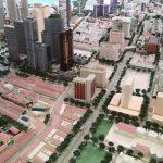 巨大なシンガポール中心部のジオラマ